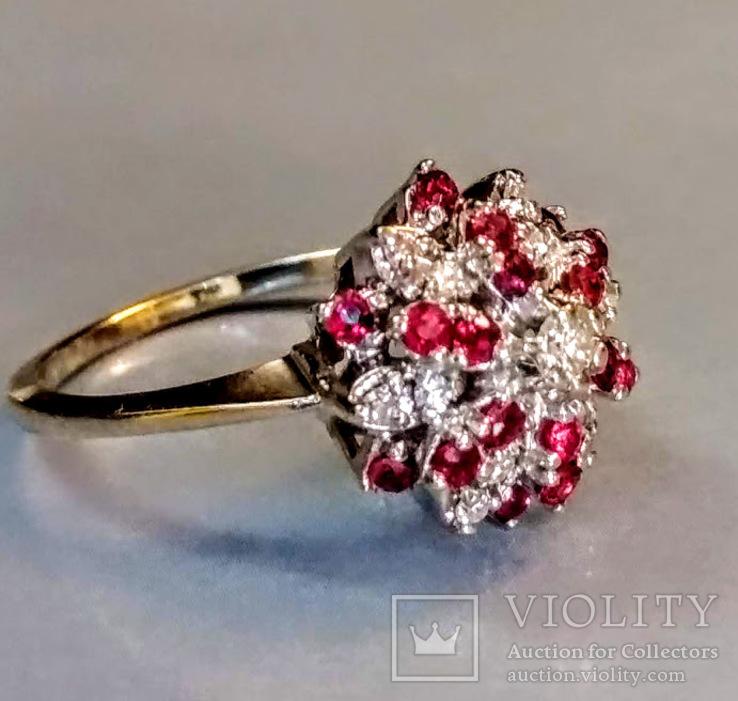 Винтажное золотое кольцо с натуральными рубинами и бриллиантами, фото №2