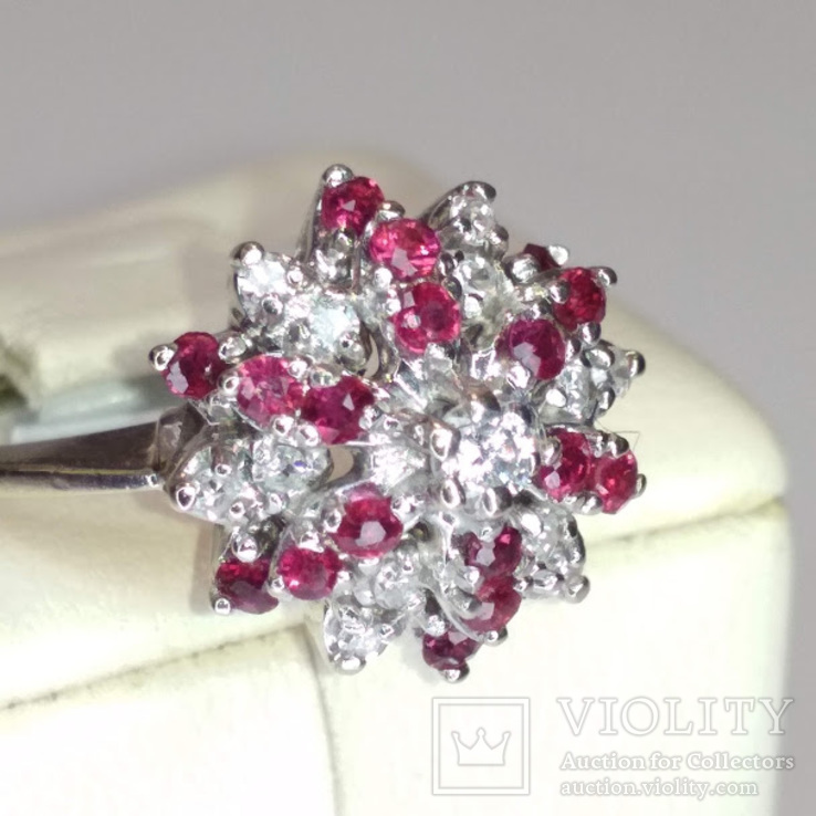 Винтажное золотое кольцо с натуральными рубинами и бриллиантами, фото №3