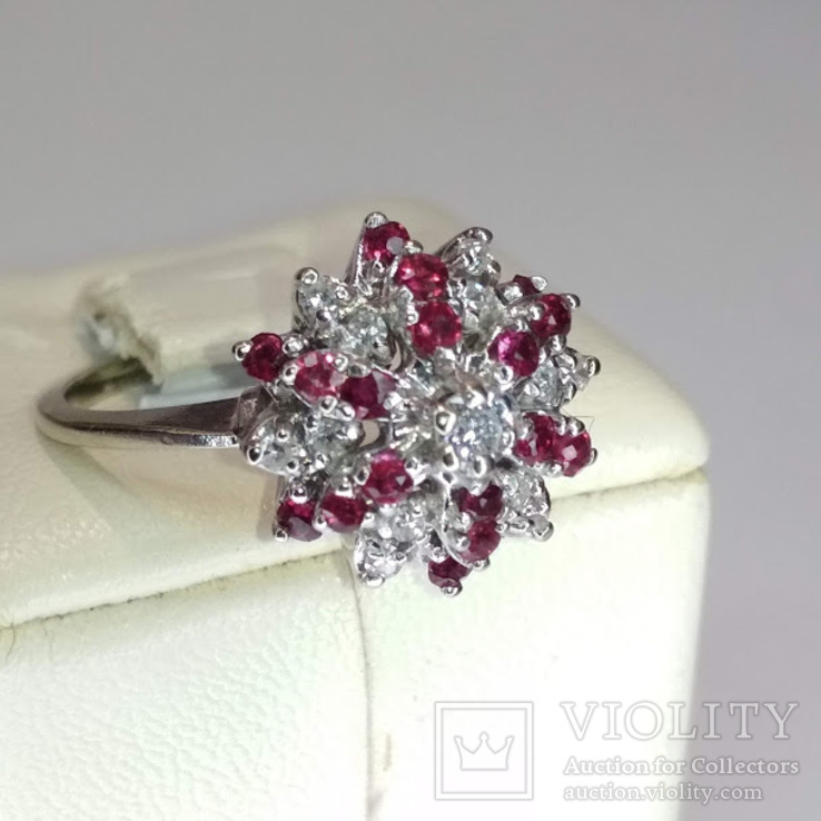 Винтажное золотое кольцо с натуральными рубинами и бриллиантами, фото №4