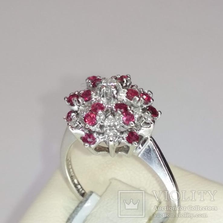 Винтажное золотое кольцо с натуральными рубинами и бриллиантами, фото №5