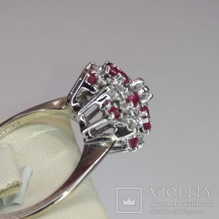 Винтажное золотое кольцо с натуральными рубинами и бриллиантами, фото №6