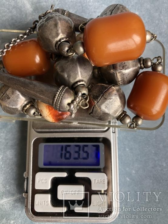 Массивные бусы из серебра и бакелита 163 грамма, фото №11