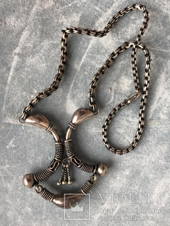 Серебряное украшение в этно стиле.