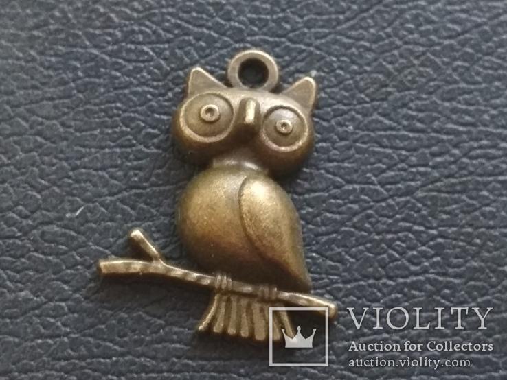 Сова на ветке кулон брелок миниатюра