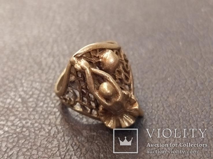 Балерина кольцо латунь, фото №5
