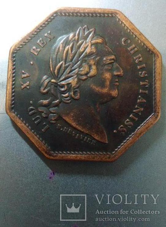 Токен Людвиг 15 Франция Токен 1773 королевские галеры, фото №2