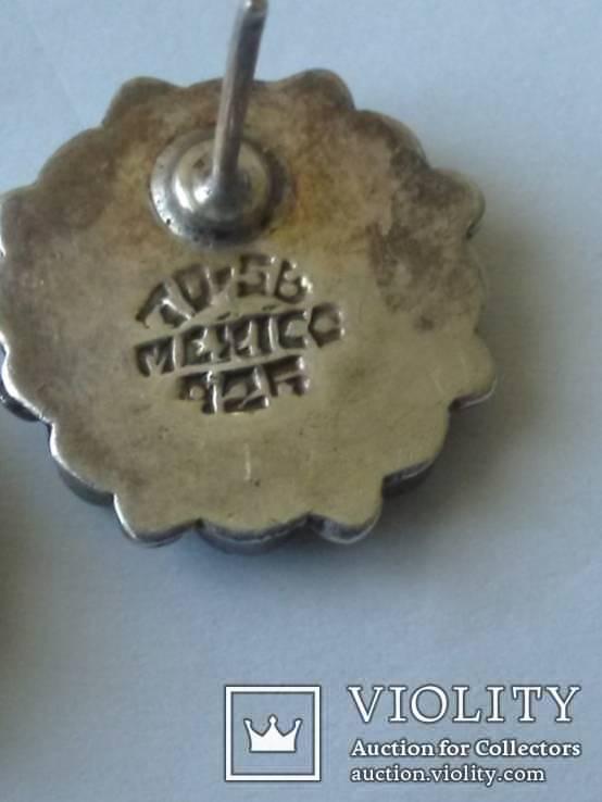 Серьги аризонская бирюза, серебро Мексика, фото №3