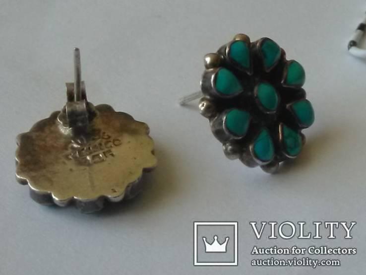 Серьги аризонская бирюза, серебро Мексика, фото №4
