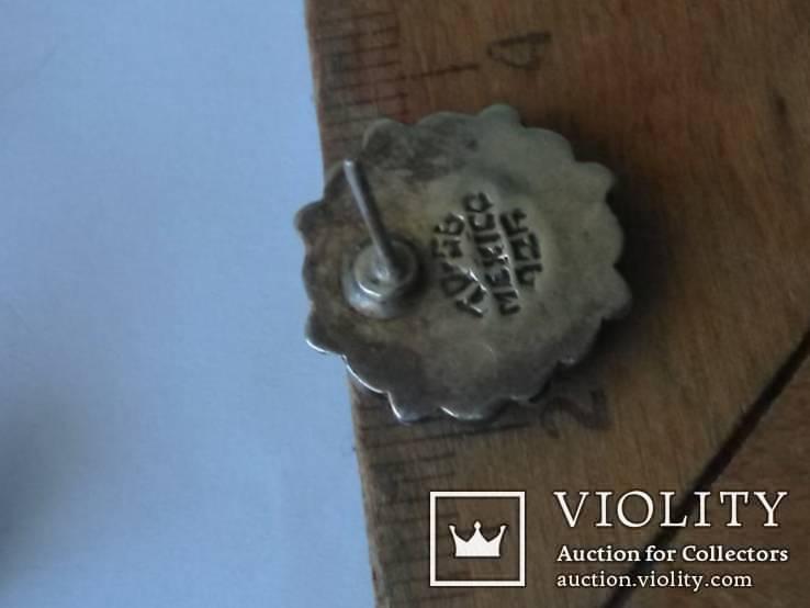 Серьги аризонская бирюза, серебро Мексика, фото №6