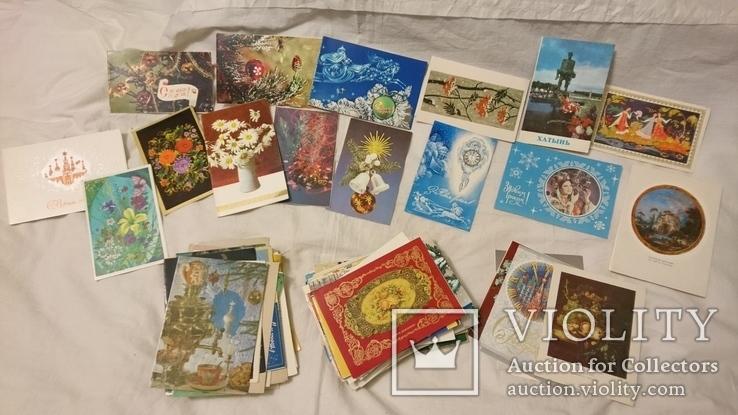 Двойные чистые открытки с Новым годом,с 8 марта,с 1 мая и др.Всего 327 шт