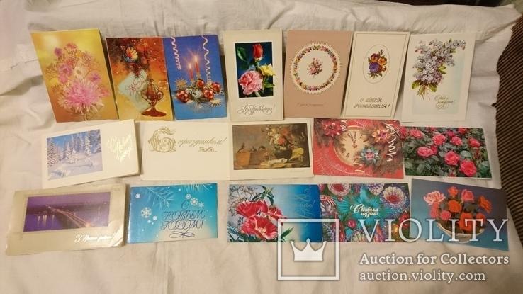 Двойные чистые открытки с Новым годом,с 8 марта,с 1 мая и др.Всего 327 шт, фото №5