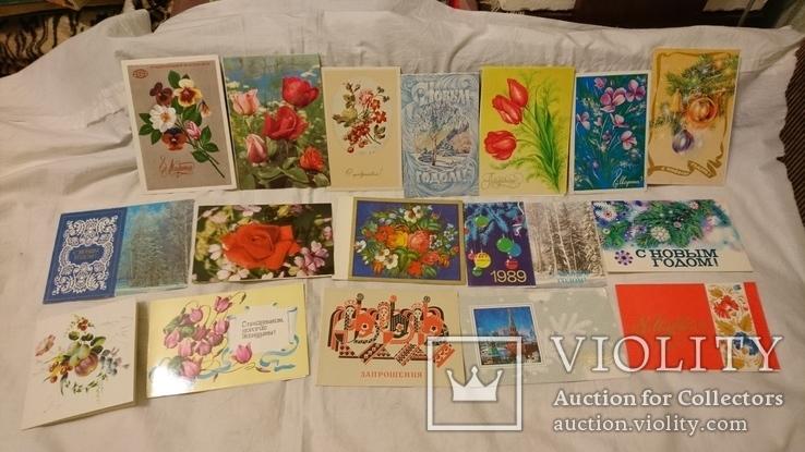 Двойные чистые открытки с Новым годом,с 8 марта,с 1 мая и др.Всего 327 шт, фото №9