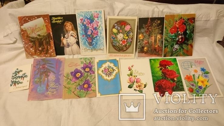 Двойные чистые открытки с Новым годом,с 8 марта,с 1 мая и др.Всего 327 шт, фото №11