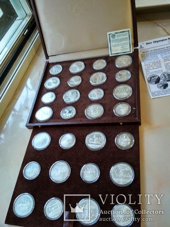 Олимпиада 1980 серебро СССР набор монет в футляре сертификат, фото №3