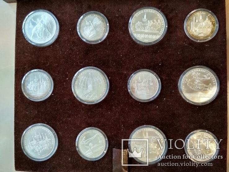 Олимпиада 1980 серебро СССР набор монет в футляре сертификат, фото №5