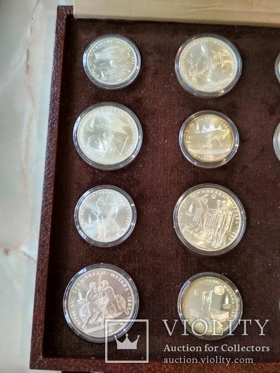 Олимпиада 1980 серебро СССР набор монет в футляре сертификат, фото №6