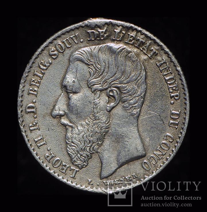 Бельгийское Конго 50 сантим 1887 серебро, фото №3
