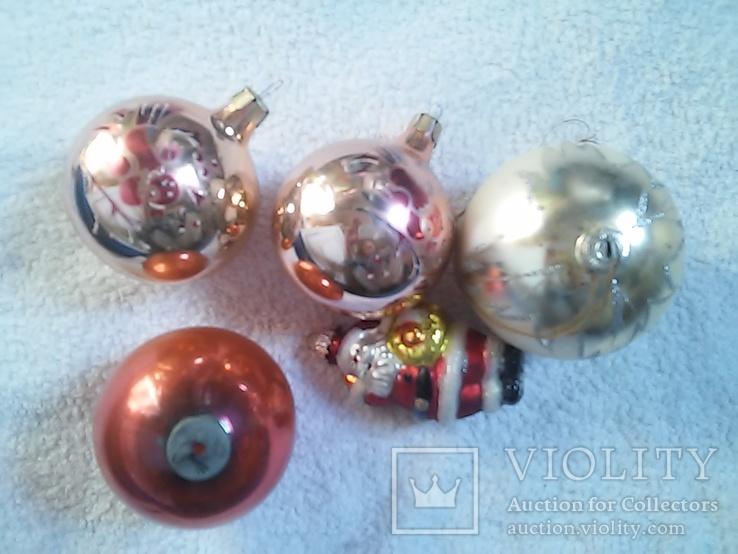Елочные игрушки: Шары и Дед мороз. 5 шт. 1 - им лотом, фото №4