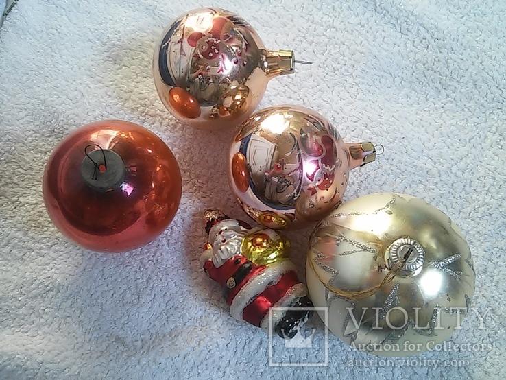 Елочные игрушки: Шары и Дед мороз. 5 шт. 1 - им лотом, фото №5