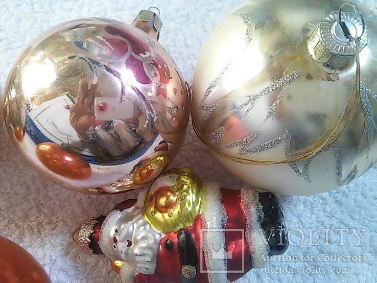 Елочные игрушки: Шары и Дед мороз. 5 шт. 1 - им лотом, фото №7