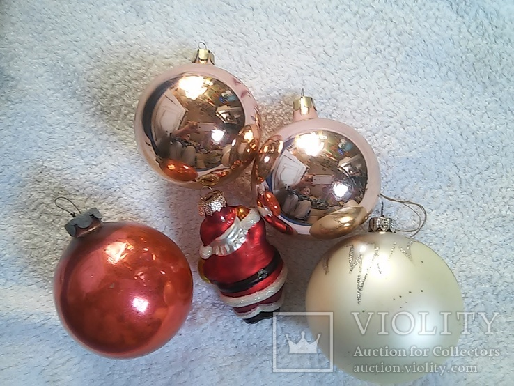 Елочные игрушки: Шары и Дед мороз. 5 шт. 1 - им лотом, фото №9
