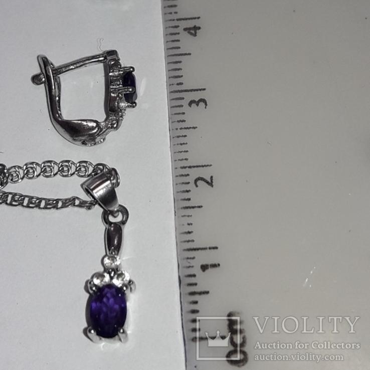 Серьги и подвес на цепочке с аметистом, серебро 925, фото №8