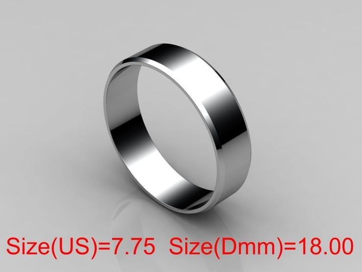 18,00 (размер) 5мм(ширина) Бесшовное обручальное кольцо (Американка) серебро(925), фото №2