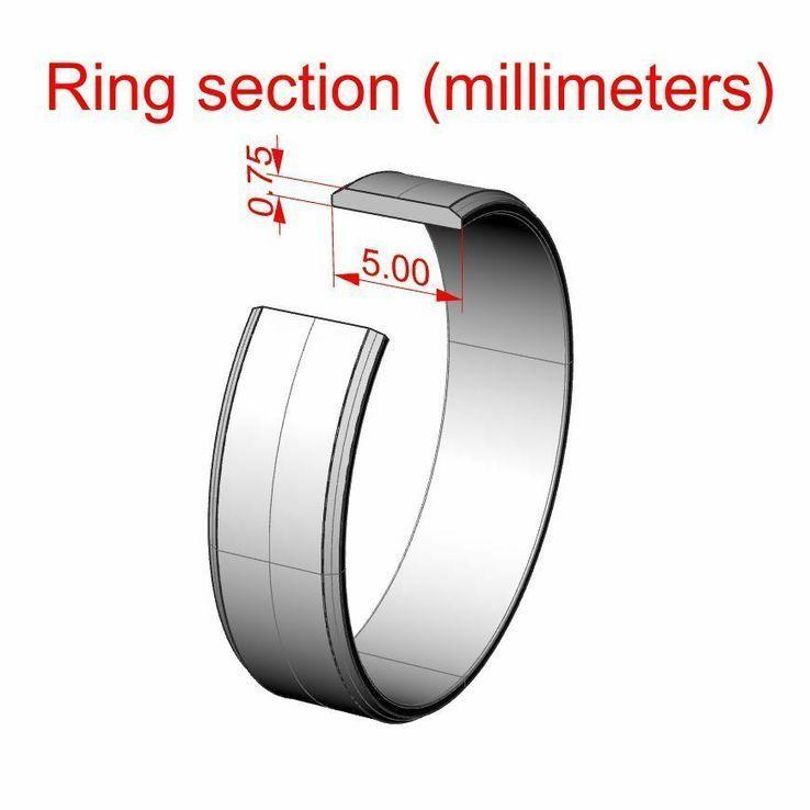 18,00 (размер) 5мм(ширина) Бесшовное обручальное кольцо (Американка) серебро(925), фото №3