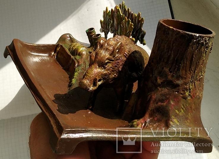 Чернильный прибор с кабаном в раскраске., фото №3