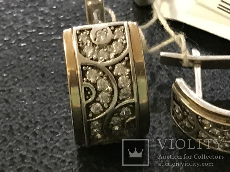 Серьги . Серебро/ золото. Цирконий новые, фото №4