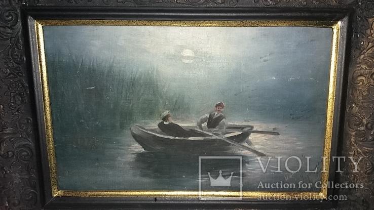 Старинная картина с подписью 1902г, фото №3
