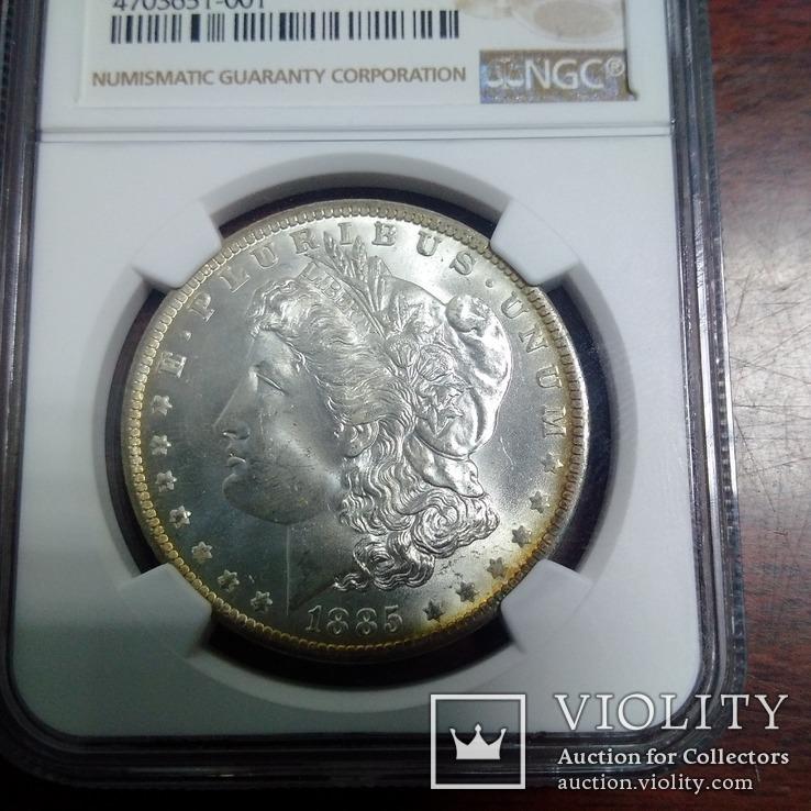 1 доллар 1885 O NGC MS64, фото №4
