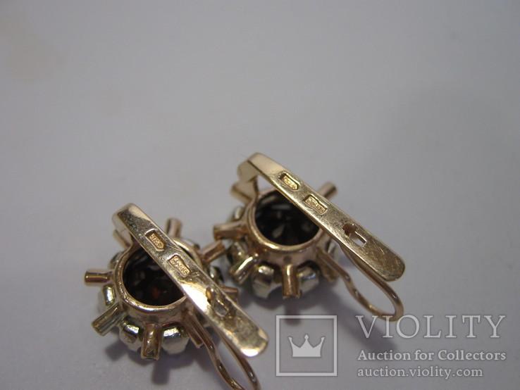 Золотые серьги №585 пробы. Камни цирконий и натуральный гранат., фото №12