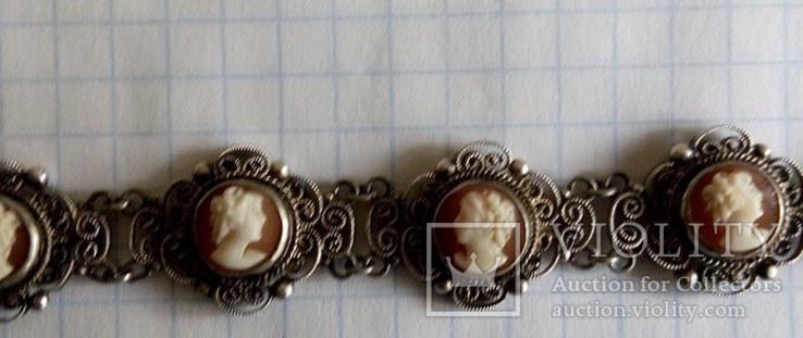Браслет серебро Камея  на раковине, фото №4