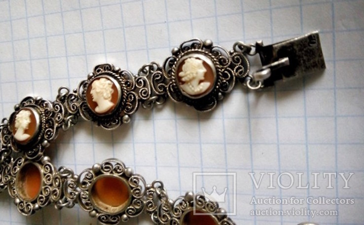 Браслет серебро Камея  на раковине, фото №7
