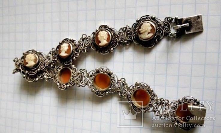 Браслет серебро Камея  на раковине, фото №9