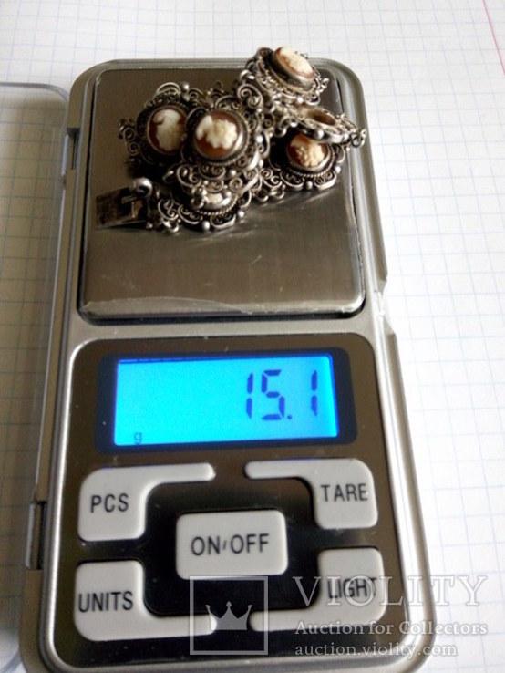 Браслет серебро Камея  на раковине, фото №10