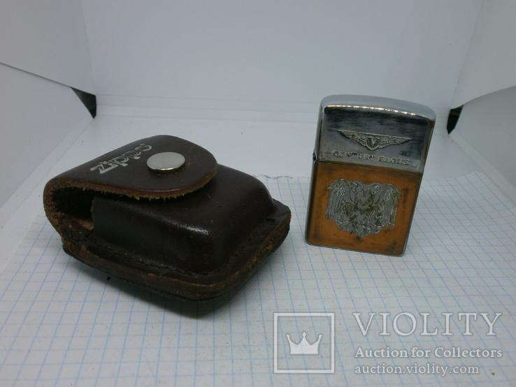 Зажигалка Zippo в кожаном чехле, фото №2