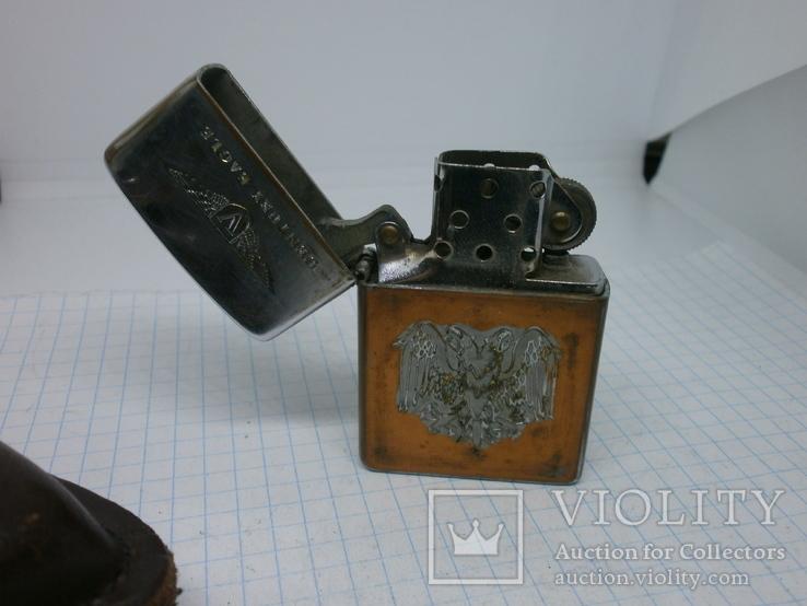 Зажигалка Zippo в кожаном чехле, фото №4