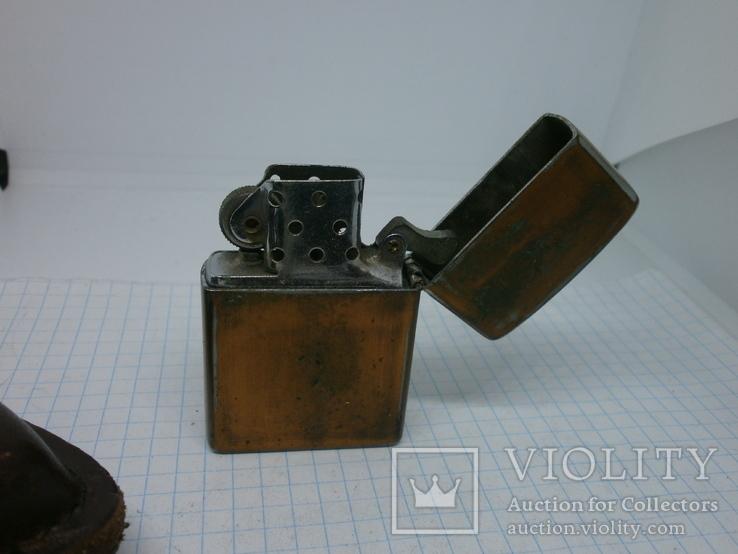 Зажигалка Zippo в кожаном чехле, фото №5