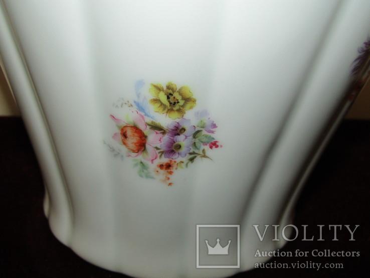 Каминная ваза фарфор роспись Мейсенский букет Thomas Rosenthal Германия 1908 -1939 г.г., фото №4