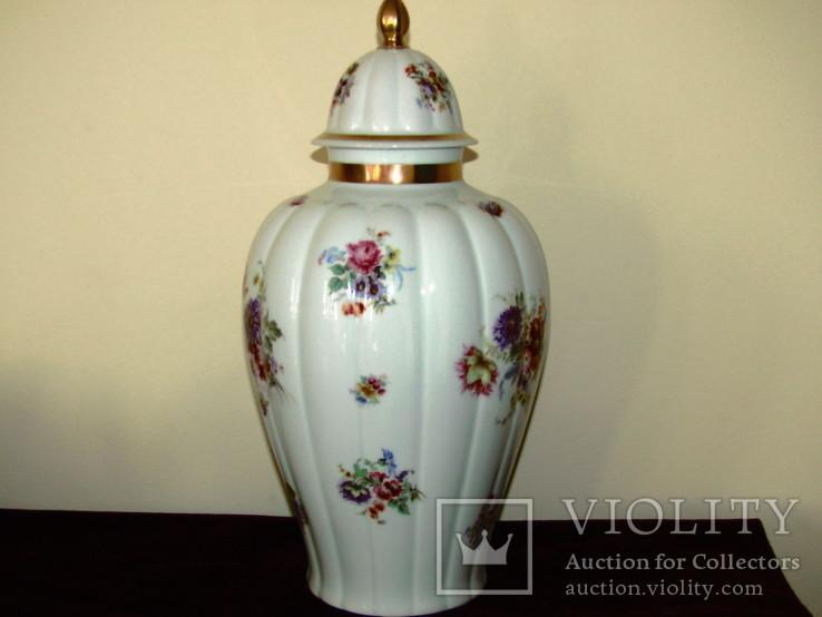 Каминная ваза фарфор роспись Мейсенский букет Thomas Rosenthal Германия 1908 -1939 г.г., фото №8