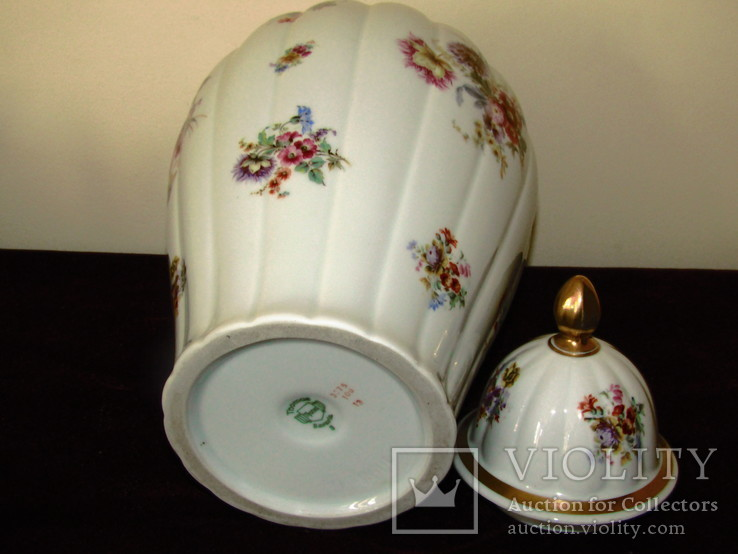 Каминная ваза фарфор роспись Мейсенский букет Thomas Rosenthal Германия 1908 -1939 г.г., фото №11
