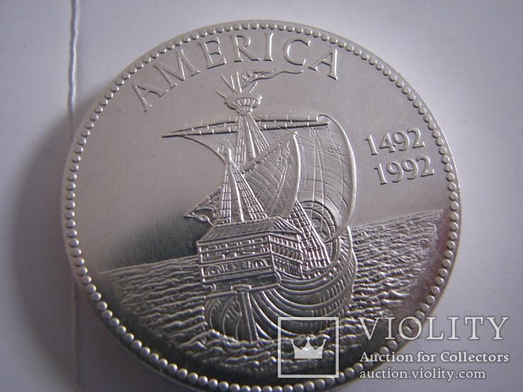 Настольная медаль 500 лет США.Серебро.40г, фото №3