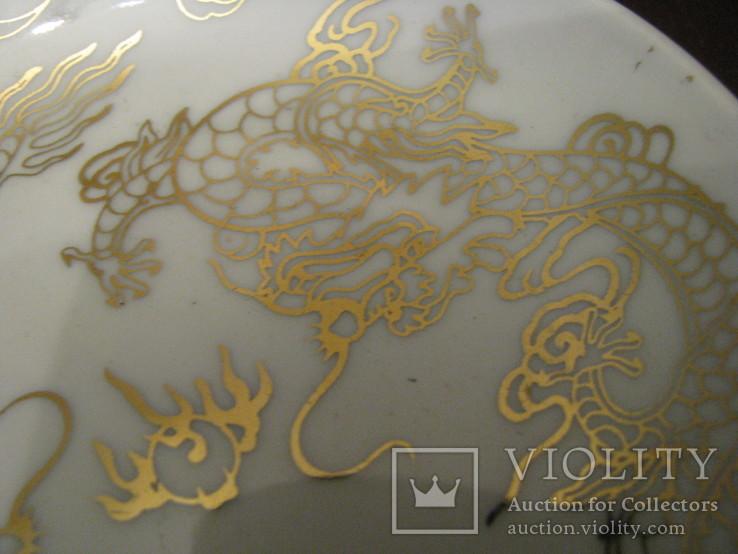 Декоративная кабинетная тарелочка на подставке - Драконы., фото №3