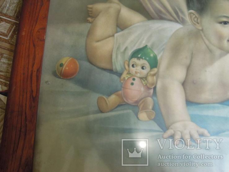 """Плакат в раме """"Милый мальчишка"""" СССР - Китай 1962 г, фото №3"""