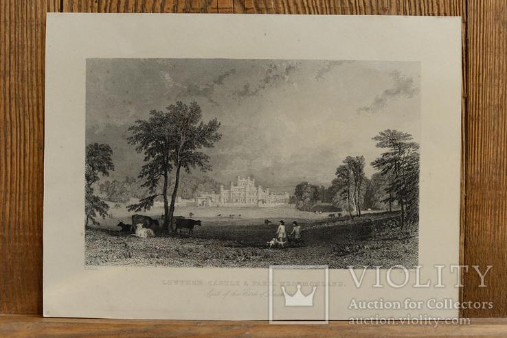 Антикварная гравюра Lowther Castle & Park Westmorland