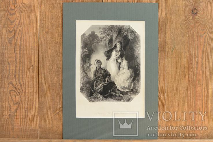 Большая Антикварная гравюра America The Pilgrim Fathers
