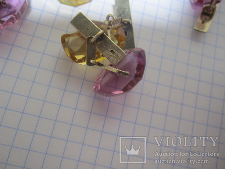 Запонки Серебро 875 звезда  4пары, фото №11