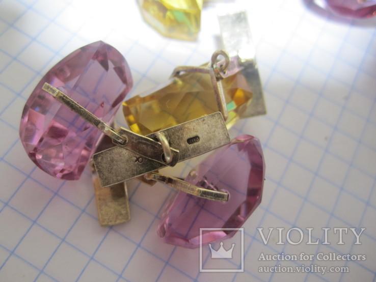 Запонки Серебро 875 звезда  4пары, фото №12